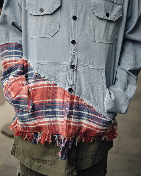 50/50 CHAMBRAY/RED PLAID STUDIO SHIRT