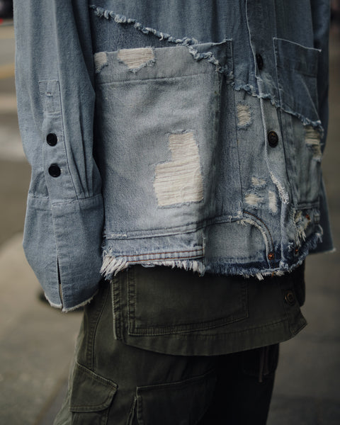 GREG LAUREN 50/50 CHAMBRAY/DENIM BOXY STUDIO SHIRT