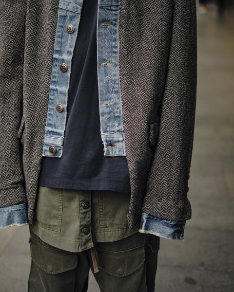 GREG LAUREN DENIM/HERRINGBONE BLAZER