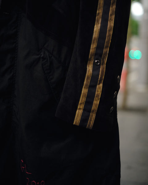 GREG LAUREN BLACK ROYAL HOODED FISHTAIL PARKA