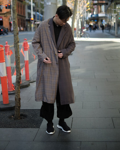 DUO COLOR CHECK PRINT OVERSIZED COAT