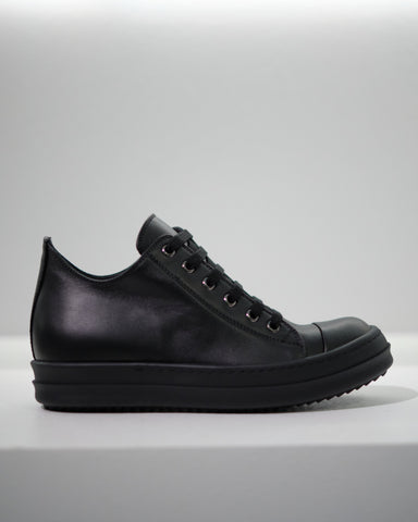 RICK OWENS LEATHER LOW-CUT SNEAKERS W - BLACK/BLACK
