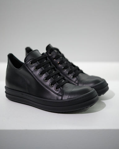 LEATHER LOW-CUT SNEAKER M - BLACK/BLACK