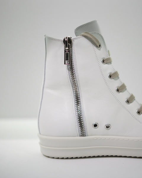LEATHER HI-TOP SNEAKERS W - CHALK WHITE