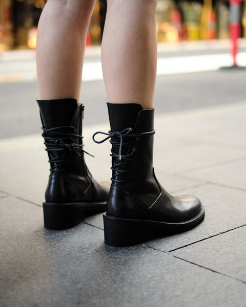 VITELLO LUX LACED BOOTS - BLACK