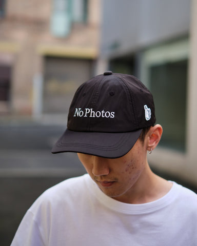 FR2 NO PHOTOS EMBROIDERY SIX PANEL CAP - BLACK