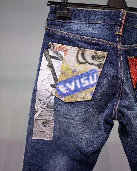 EVISU PATCHWORK WASHED JEANS