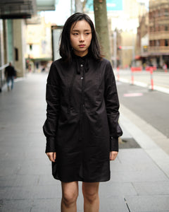 RIBBON LONG SHIRT - BLACK