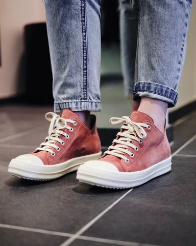 LEATHER LOW-CUT SNEAKERS - BURNT PINK