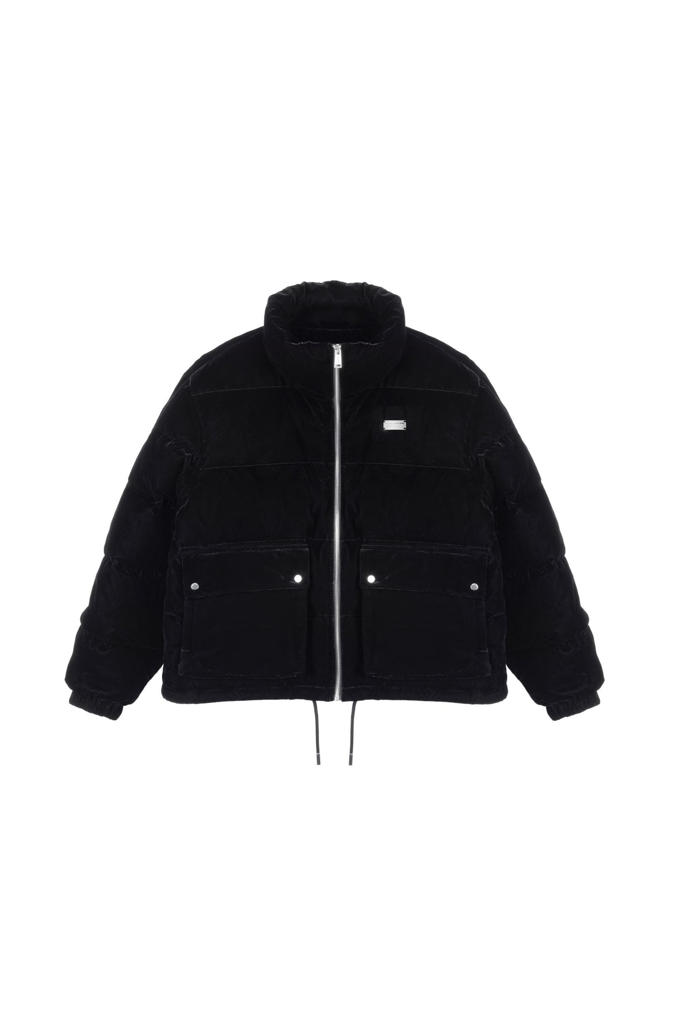 TEAM WANG PRINTED LOGO VELVET DOWN JACKET