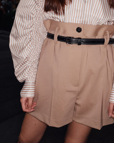 3.1 PHILLIP LIM PAPER BAG WOOL SHORTS with LEATHER BELT