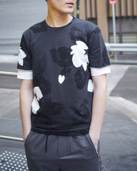 3.1 PHILLIP LIM SS DOUBLE SLEEVE NIGHT FLORAL T-SHIRT - SOFTBLACK