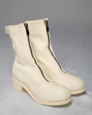 GUIDI PL2 SOFT HORSE FULL GRAIN FRONT ZIP BOOTS - WHITE