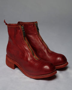 GUIDI PL1 SOFT HORSE FULL GRAIN FRONT ZIP BOOTS - RED
