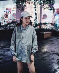 C2H4 COLOR BLOCKED CORDS SHIRT - LIGHT GREY
