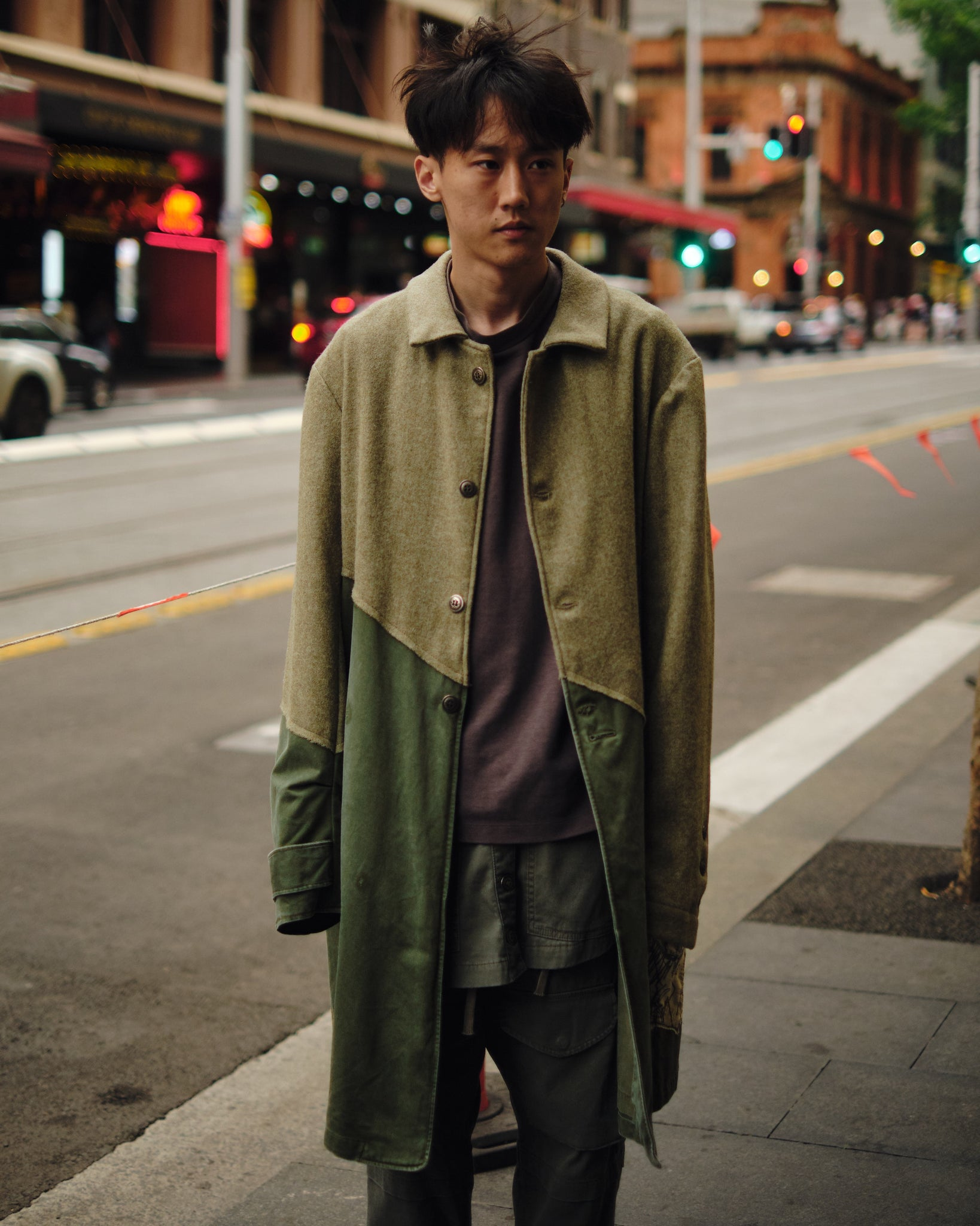 50/50 ARMY TWEED TRENCH COAT