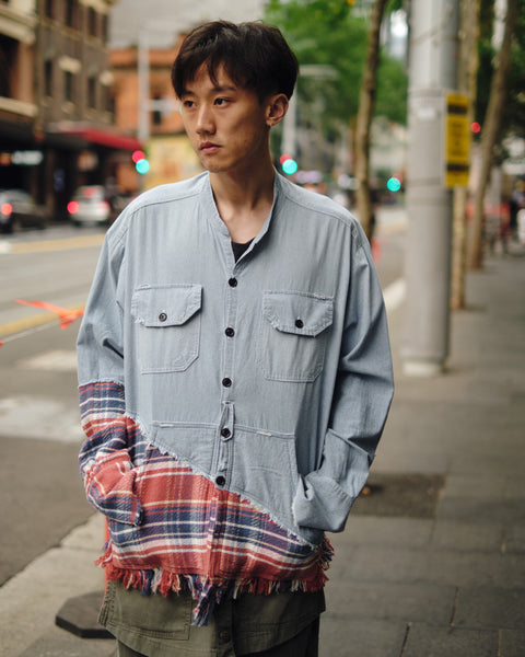 GREG LAUREN 50/50 CHAMBRAY/RED PLAID STUDIO SHIRT