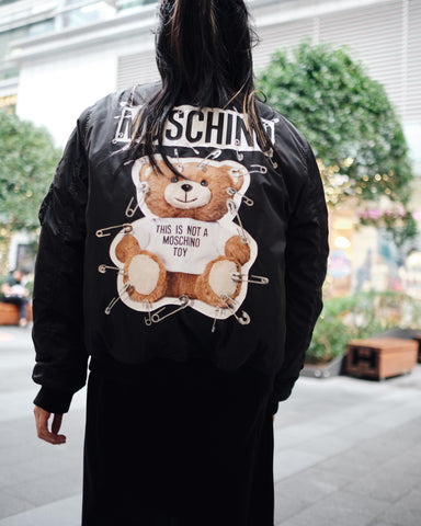 MOSCHINO SAFETY PIN BEAR BOMBER JACKET