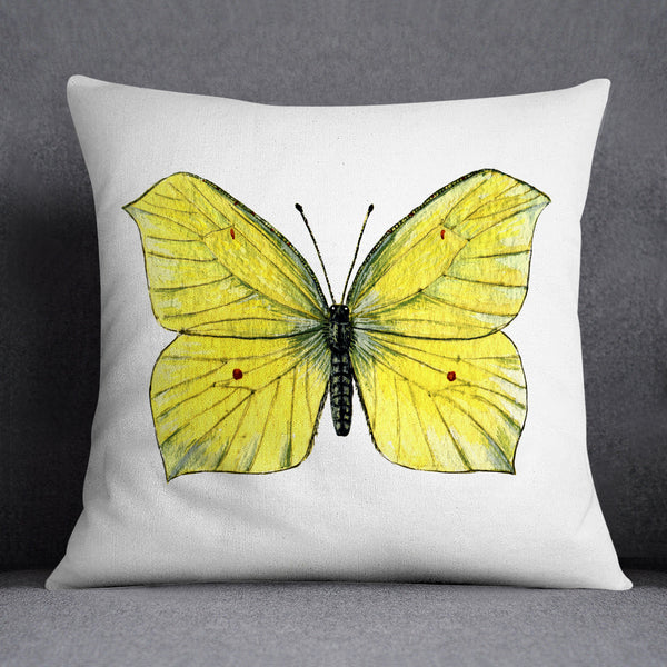 Brimstone Butterfly Illustration Printed Cushion