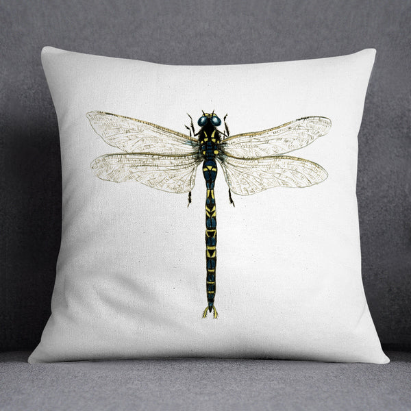 Emperor Dragonfly Illustration Printed Cushion