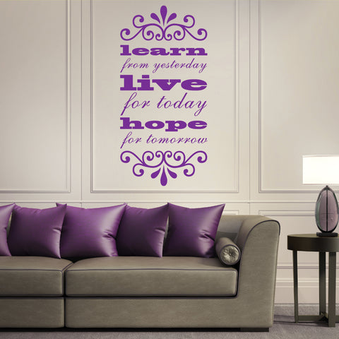 learn, live, hope wall sticker quote