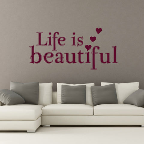 life is beautiful wall sticker quote
