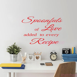 Spoonful Love Added To Every Recipe Vinyl Wall Sticker Removable Wall Decal Art Wallpaper Kitchen Wall Decor Home Decor Poster