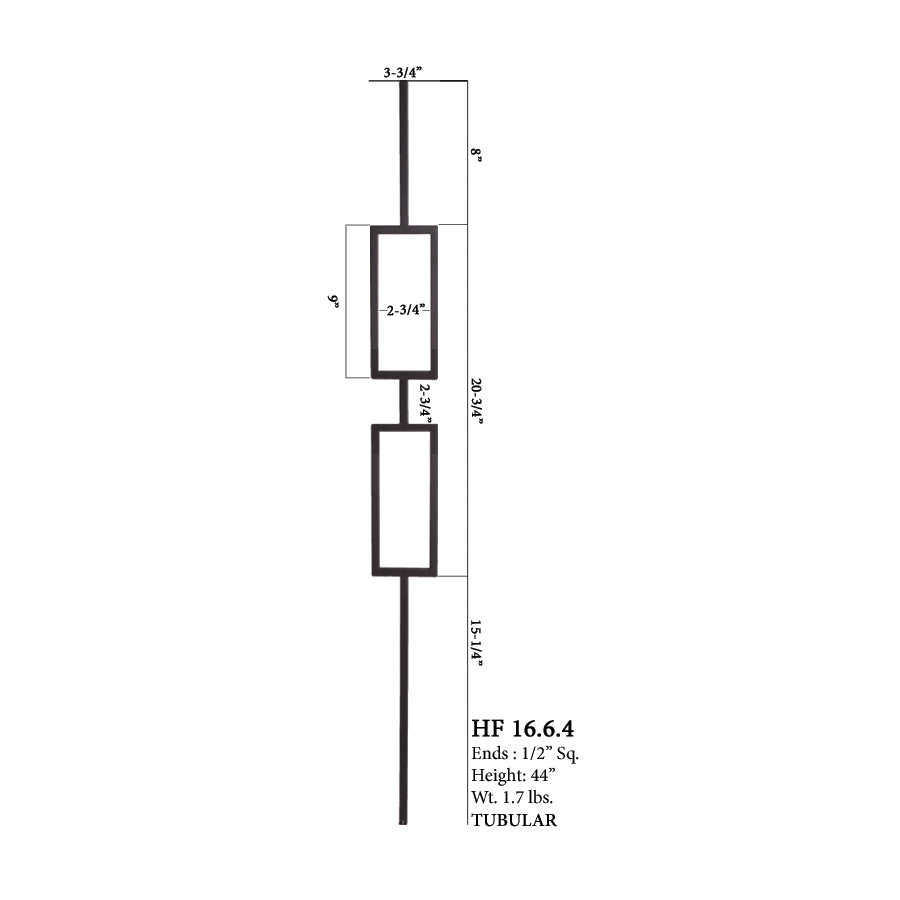 16.6.4 Aalto Modern Series Double Rectangle Hollow Baluster