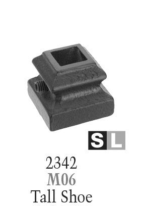 2342 Series M06 Flat (With Set Screw) Shoe For 1/2 in. Square Baluster