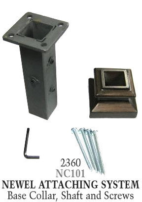 2360 Series NC101 Flat Newel (With Mounting Kit) Shoe For 1 3/16 in. Square Newel