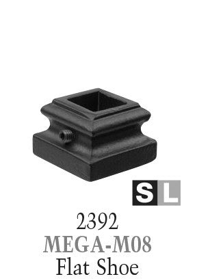 2392 Series MEGA-M08 Flat (With Set Screw) Shoe For 3/4 in. Square Baluster