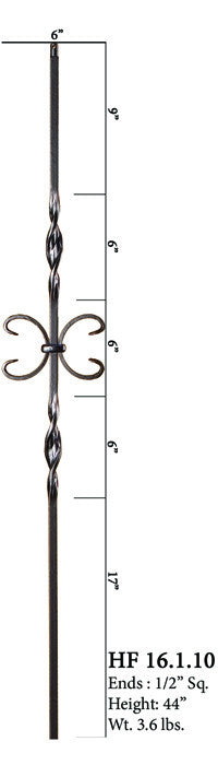 HF 16.1.10 Double Ribbon Single Butterfly Iron Baluster