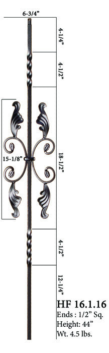 HF 16.1.16 Double Twist Single Butterfly Iron Baluster