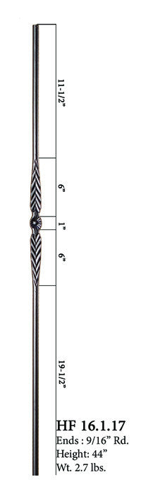 HF 16.1.17 Single Feather Round Iron Baluster