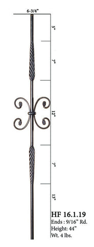 HF 16.1.19 Double Feather Single Butterfly Round Iron Baluster
