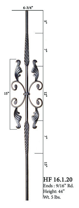 HF 16.1.20 Double Feather Single Butterfly With Leaves Round Iron Baluster