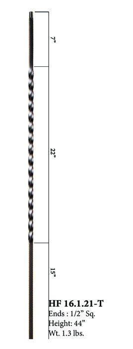 HF 16.1.21-T Long Single Twist Hollow Iron Baluster
