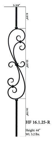 HF 16.1.25-R Large Spiral Scroll Round Iron Baluster