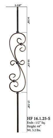 HF 16.1.25-S Small Spiral Scroll Iron Baluster