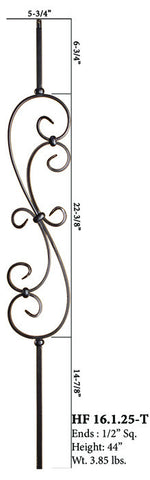 HF 16.1.25-T Large Spiral Scroll Hollow Iron Baluster