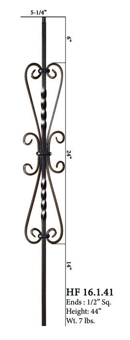 HF 16.1.41 Twisted Heart Scroll Iron Baluster