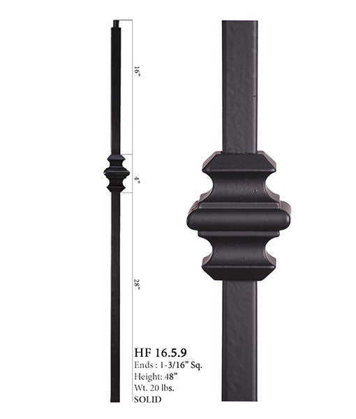 HF 16.5.9 Single Knuckle Iron Newel