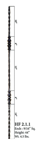 HF 2.1.1 Double Decorative Knuckle Hammered Iron Baluster