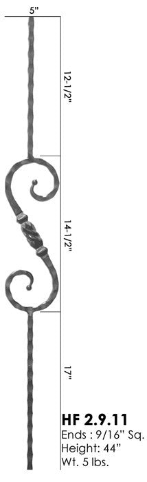 HF 2.9.11 Single Twisted Knuckle Scroll Hammered Iron Baluster