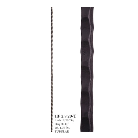 2.9.20-T Plain Square Hammered Hollow Iron Baluster