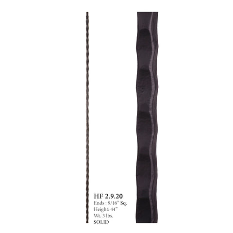 HF 2.9.20 Plain Square Hammered Iron Baluster