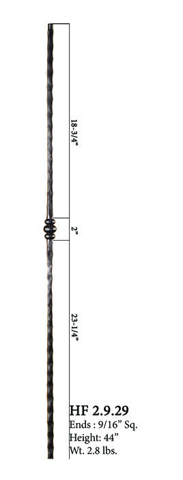 HF 2.9.29 Single Knuckle Hammered Iron Baluster