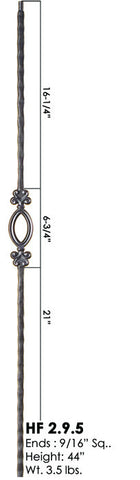 HF 2.9.5 Single Oval Hammered Iron Baluster