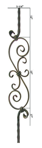 HF 2.9.8 Large Spiral Scroll Hammered Iron Baluster