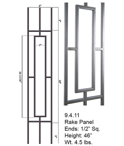 9.4.11 Aalto Modern Series Square Single Rectangle Hollow Baluster